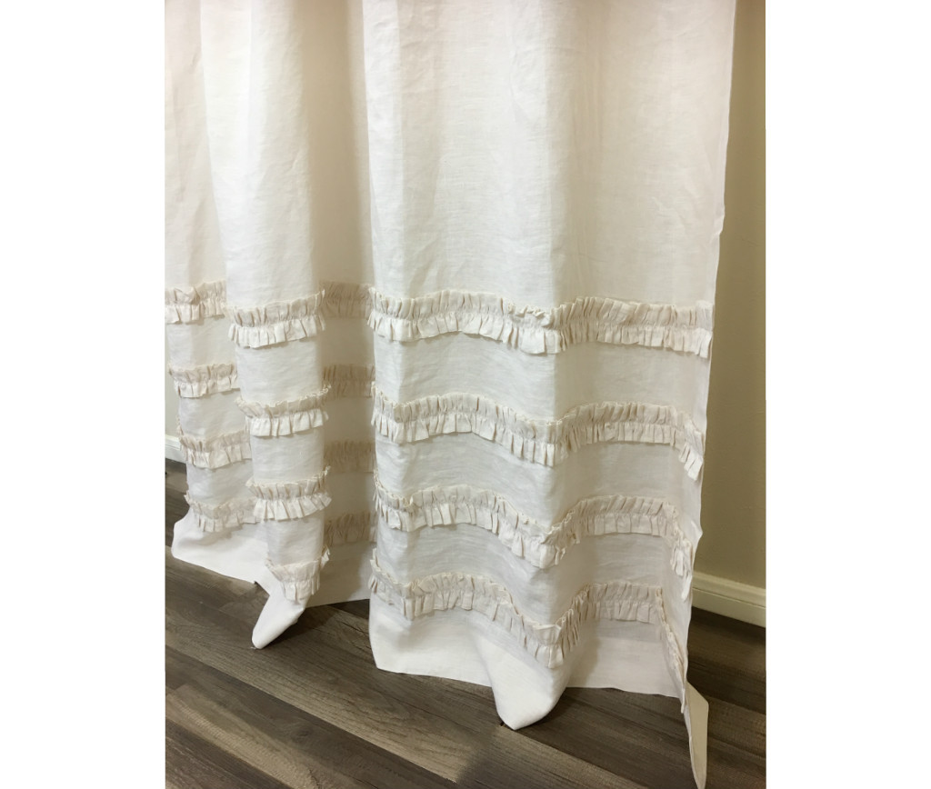 ... Linen Shower Curtain Ivory Cream ...