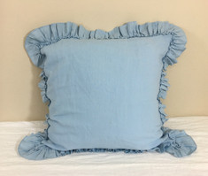 Blue Euro Sham Cover with Country Ruffle, features tiny ruffles on top of the ruffle hem, Sophistication in Style
