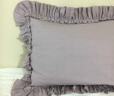 "Natural Linen Orchid Euro Sham Cover with Vintage Ruffles, features 1"" ruffle on top of the Ruffle Hem, Sophisticated ruffles and color!"
