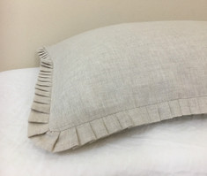 Natural Linen Euro Sham Cover with Petite Pleated Ruffles