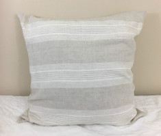 Costal Linen Striped Euro Sham Cover, weaved in linen and soft white yarn – Stylish in Stripes
