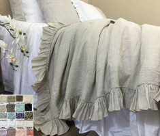 Linen Duvet Cover with Country Ruffle Hem all the way around, inspired by the traditional trellis bedroom, multiple colors.