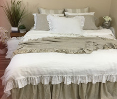 White Linen Duvet Cover with Country Ruffle Hem