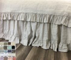 "Linen Bed Skirt with 4"" Country Ruffle Hem"