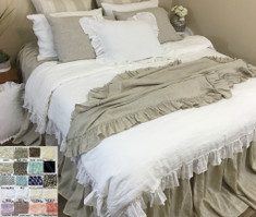 Linen Throw with Country Ruffles, Multiple Colors, Easy Bedroom Makeover Piece!