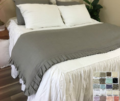 Linen Duvet Cover with Pleated Ruffles all the way around, 40+ Colors, Exquisite Stunning!