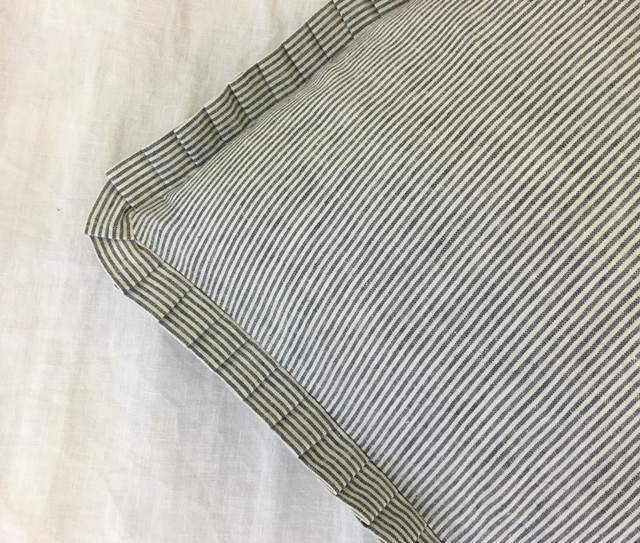 Subtle Black and White Ticking Striped Euro Sham Cover with Petite Pleated Ruffles, Subtle yet Sophisticated!