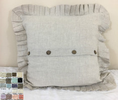 Linen Pleated Ruffle Euro Sham Cover with Wooden Buttons, Homey Buttons and Gorgeous Ruffles.