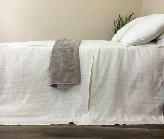 White Linen Bed Cover, Tailored Pleat
