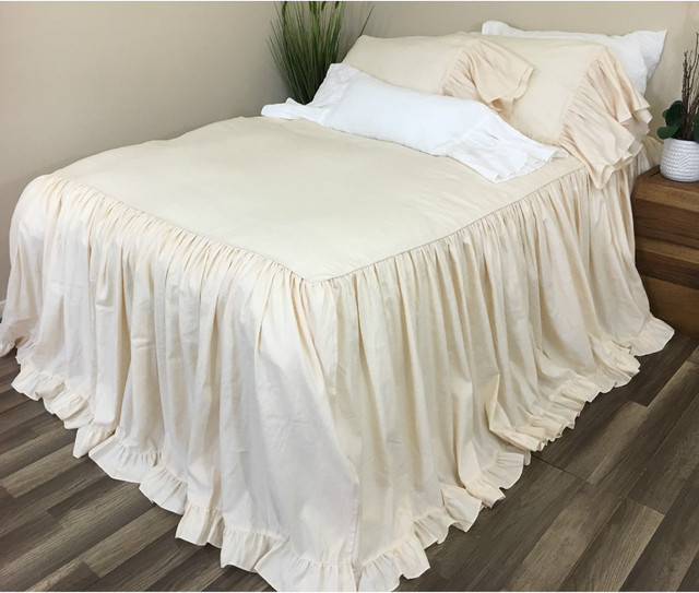 Cream Bedspread with ruffles