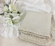 Cream Linen Duvet Cover with Petite Pleated Ruffles all the way around