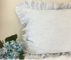 Stone Grey Ticking Striped Ruffle Euro Sham Cover, Natural Linen Weaved Stripes –Inspired by country-style design