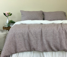 Chambray Rustic Raspberry Linen Duvet Cover
