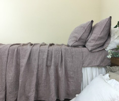 Chambray Rustic Raspberry Linen Bed Sheets Set