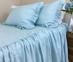 Dove Linen Bedspread with Gathered Ruffle – Fairytale!