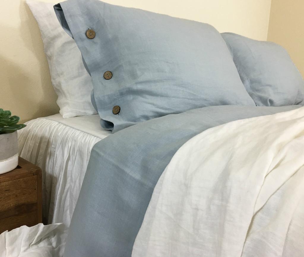 Duck Egg Blue Linen Duvet Cover With Buttons Adding A