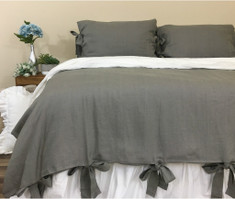 Medium Grey Linen Duvet Cover with Bow Ties
