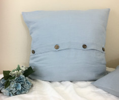 Duck Egg Blue Linen Euro Sham Cover with Buttons-