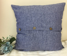 Chambray Denim Linen Euro Sham Cover with Buttons