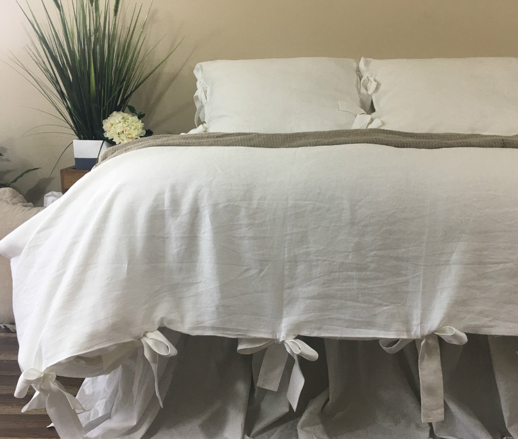 white linen duvet cover with bow ties