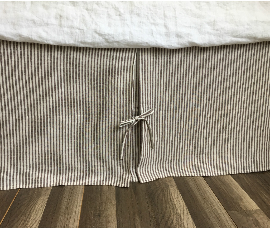 Tailored Pleated Linen Bed Skirt With Ties Multiple