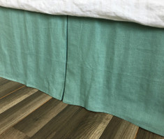Moss Green Linen Bed Skirt with Tailored Pleats