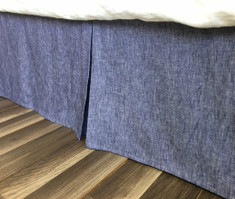 Chambray Denim Linen Bed Skirt with Tailored Pleats