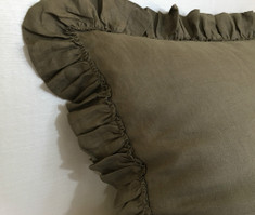 Cedar Dark Brown Linen Euro Sham Cover with Country Ruffles