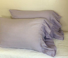 Lavender Linen Pillowcases with Mermaid Long Ruffles
