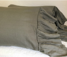Medium Grey Linen Pillowcases with Mermaid Country Ruffles