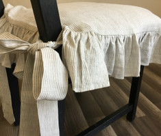 Linen Ticking Striped Chair Slipcover with Ruffles and Ballerina Ties