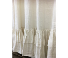 Cream Linen Shower Curtain with Double Layer Ruffles, Fabulous Chic!