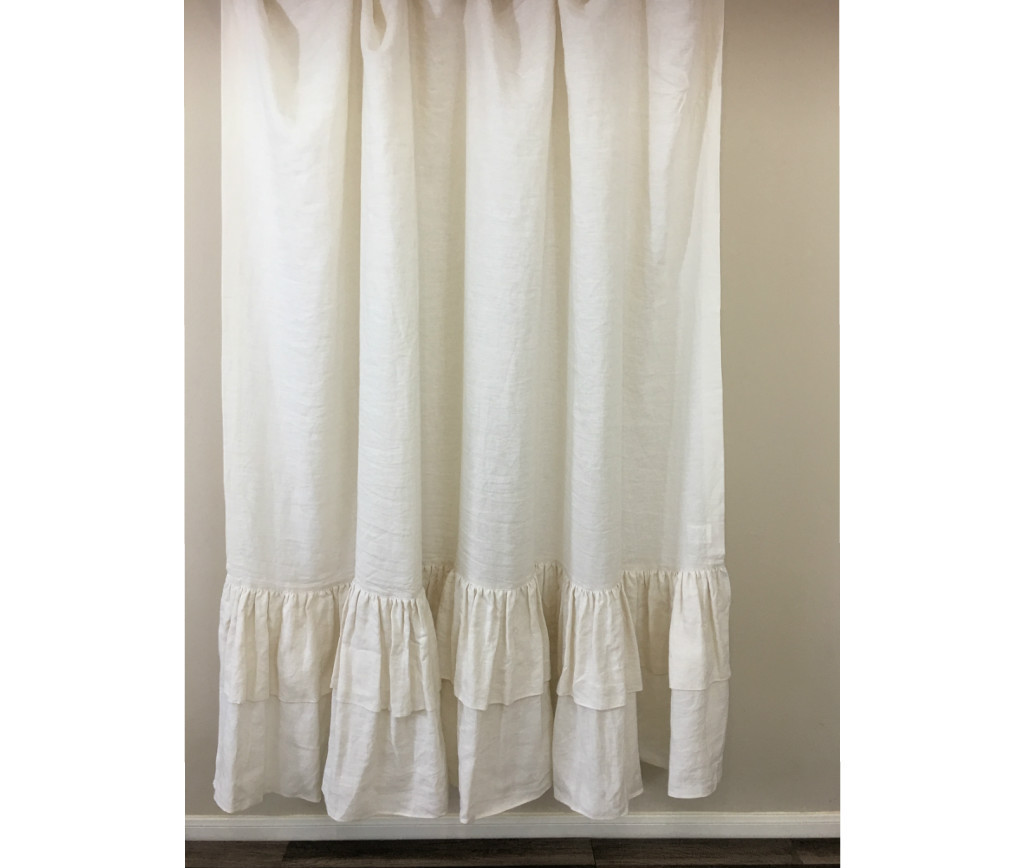 Cream Linen Shower Curtain with 2 Tiered Long Ruffles, Fabulous ...