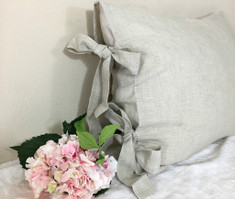 Natural Linen Euro Sham Cover with Bow Ties - undyed linen