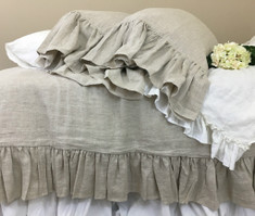 Natural Linen Medium Weight Duvet Cover with Mermaid Long Ruffles
