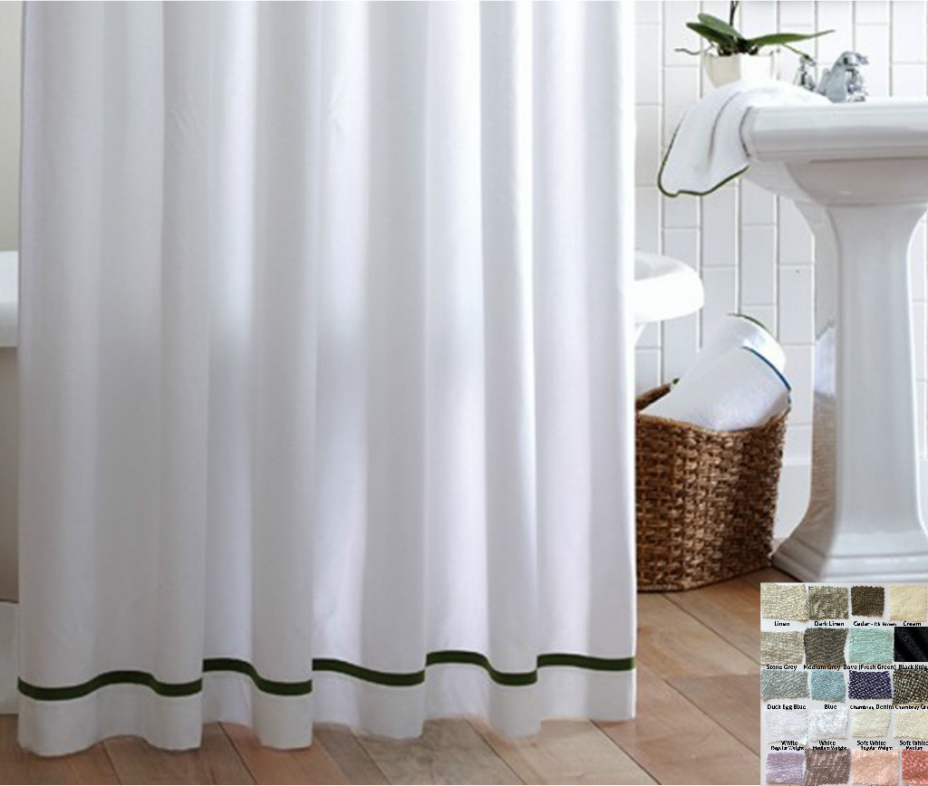 linen shower curtain white. Linen Shower Curtain with Stripes accent  choose from 40 linen fabrics mix and match your way