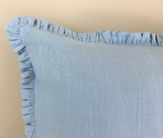Blue Linen Euro Sham Cover with Petite Ruffles, makes your sham even more prettier!