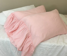 Pink Linen Pillow Cases with Country Mermaid Long Ruffles