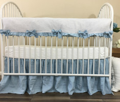 Stone Grey Ticking Striped Rail Cover Accented with Blue Ties