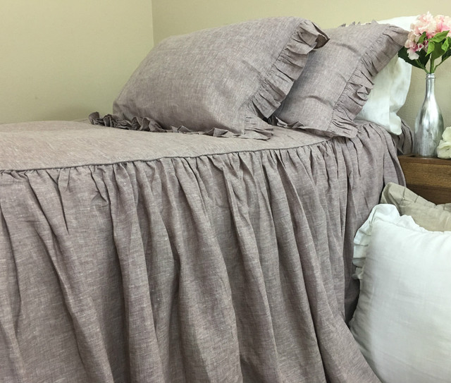 Chambray Rustic Raspberry Linen Bedspread