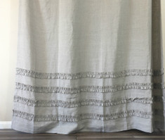 Dark Linen Shower Curtains with 4 rows of ruffles