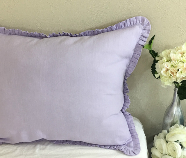 Lavender Linen Euro Sham Cover with Petite Ruffles