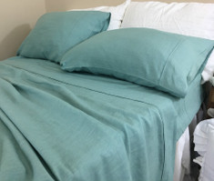 Moss Green Linen Bed Sheets Set
