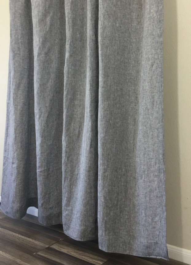 grey linen shower curtain.  Chambray Grey Shower Curtain natural linen Linen Natural Mildew Free