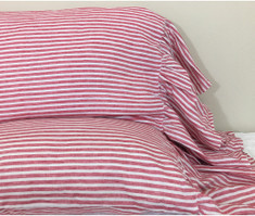 Red and White Striped Pillow Cases with Mermaid Long Ruffles