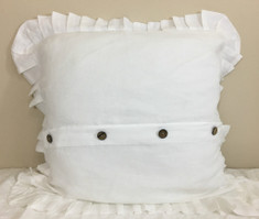 White Euro Sham Cover Pleated Ruffles with Buttons, Reversible, Natural Linen