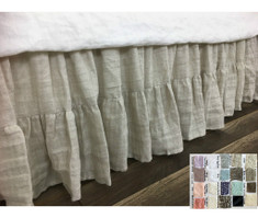 Linen Bed Skirt, Gathered Ruffle with Mermaid Long Ruffle Hem