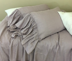 Orchid Linen Pillow Shams with Country Mermaid Long Ruffles