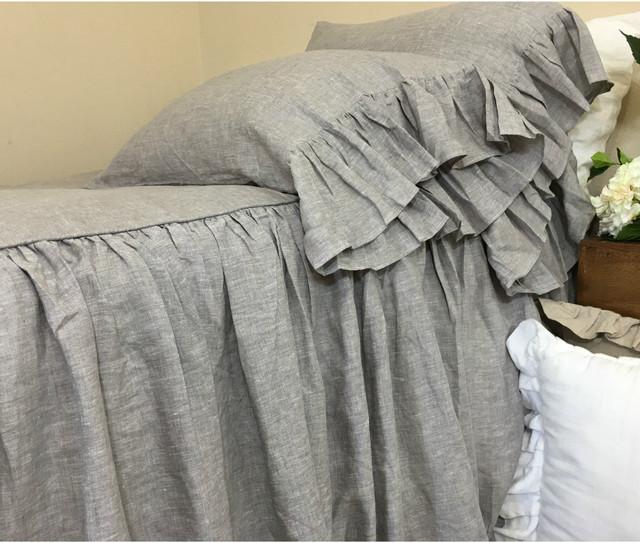Chambray Graphite Grey Linen Bedspread