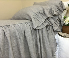 Chambray Graphite Grey Linen Bedspread